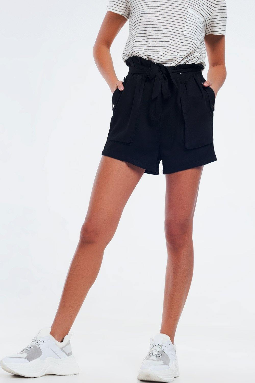 Q2 Black twill shorts with stretch waist and tie front detail