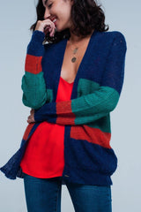 Q2 Blue green and red Striped Knit Cardigan in mohair