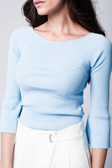 Blue Textured Sweater-Sweaters-OGONEWYORK | Contemporary Womenswear | Ethical | Kind