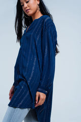 Metallic  Blue Longline Shirt