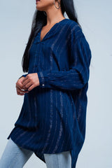 Q2 Blue longline shirt with sheer metallic stripes