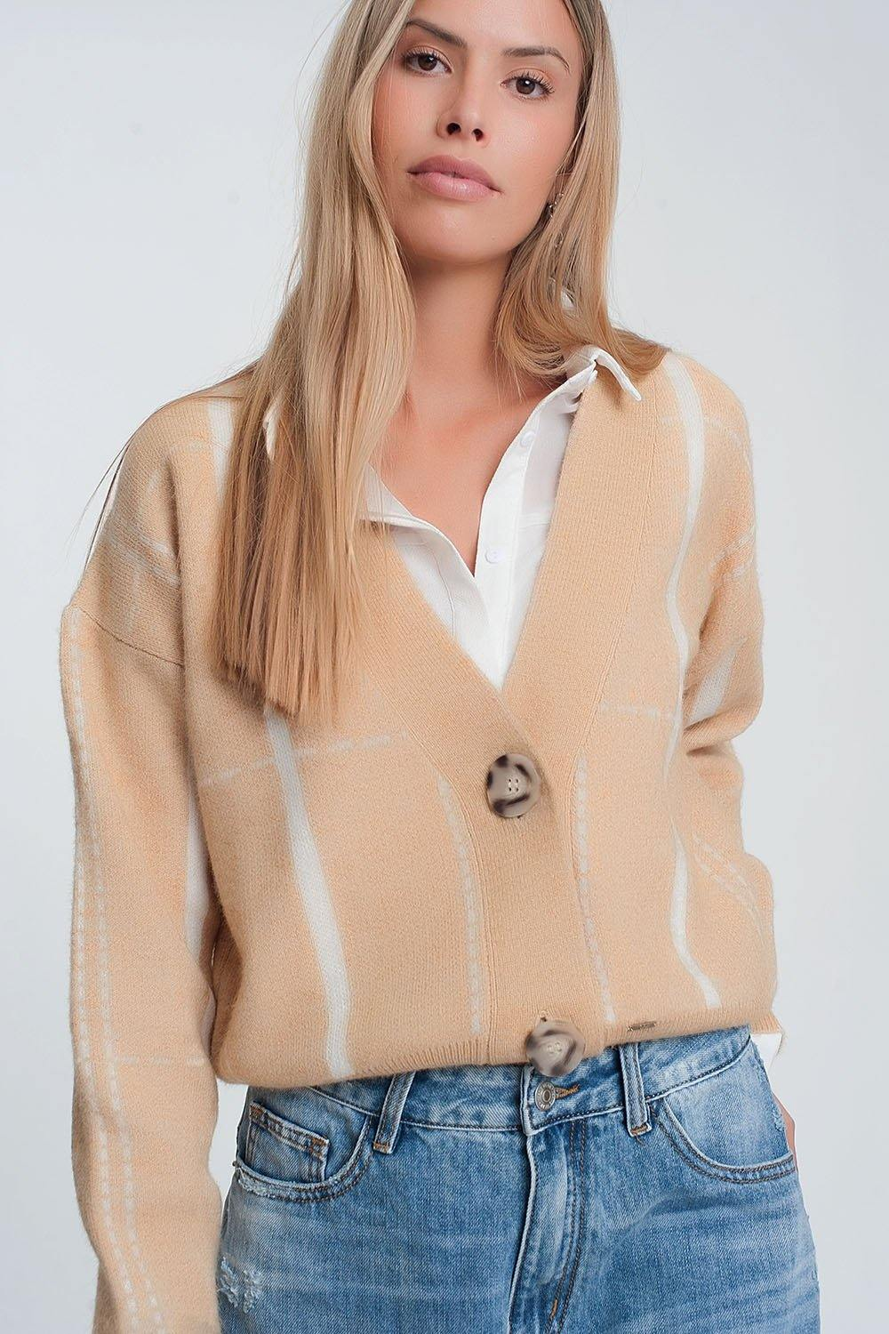 Q2 Button through v neck cardigan in beige