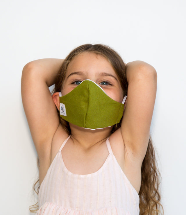HEPA99 Kids face mask - 100% Cotton | Pocket Inserts| Reversible | Washable - Asa Green - OGONEWYORK | Contemporary Womenswear | Ethical | Kind