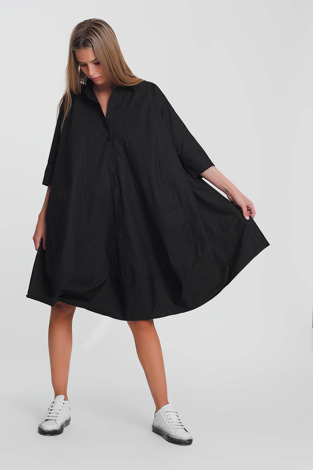 Q2 Cotton poplin oversized smock dress in black