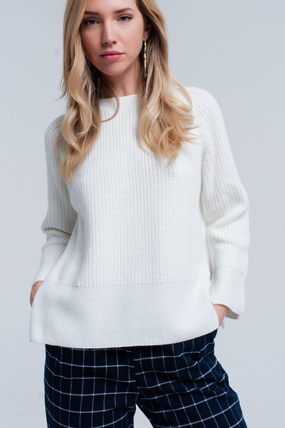 Q2 Cream knitted sweater with open side detail