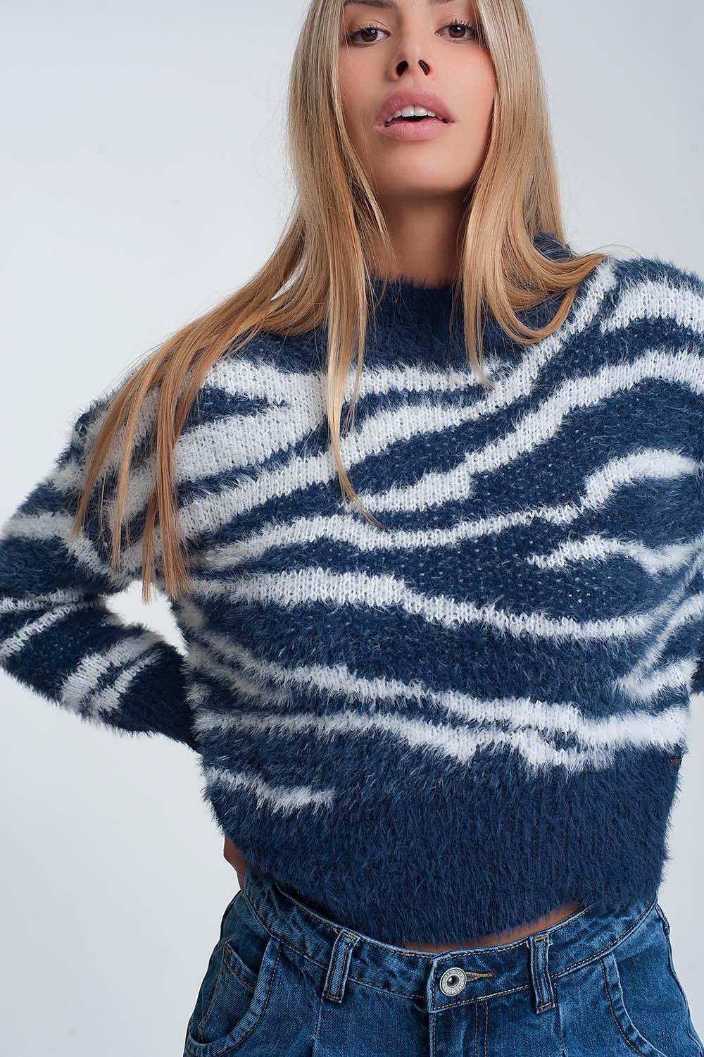 Q2 Fluffy high neck sweater with stripes in blue