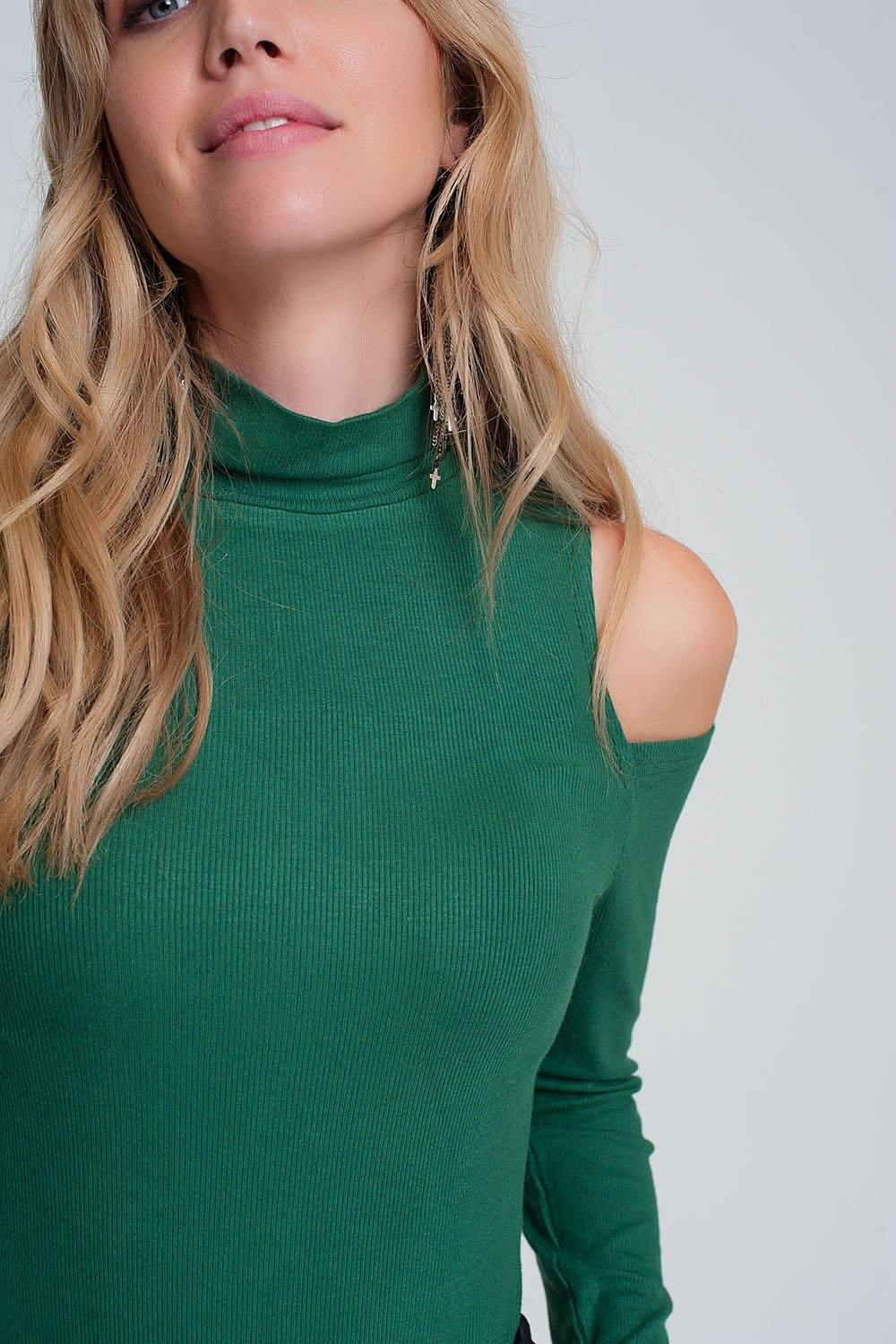 Q2 Green sweater with one open shoulder and high neck