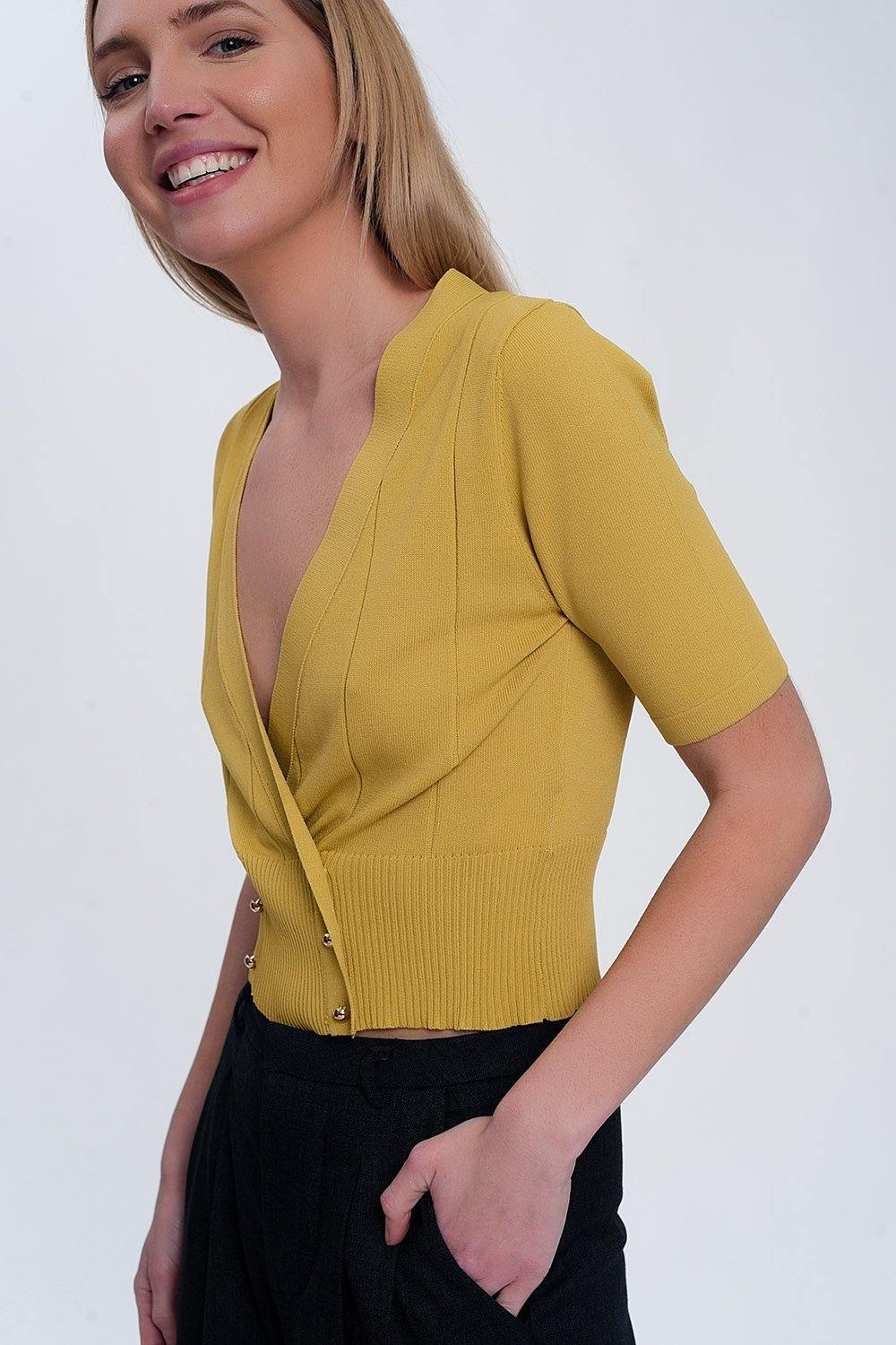 Knit Button Through Cropped Top-Tops-OGONEWYORK | Contemporary Womenswear | Ethical | Kind
