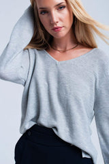 Q2 Light Gray ribbed sweater