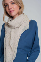 Q2 Lightweight cream scarf with paisley pattern
