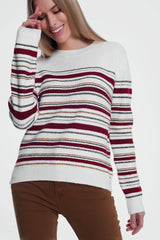 Q2 Maroon knitted sweater with stripes