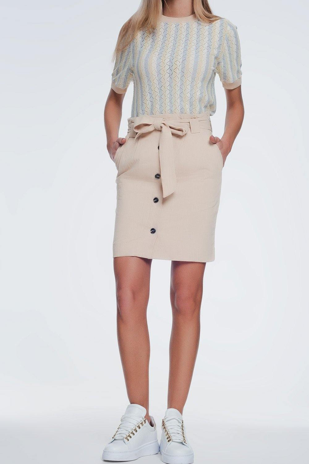 Q2 Mini beige skirt with front buttons