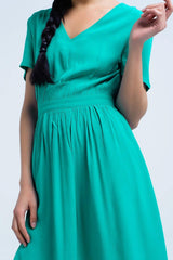 Green Mini Dress With Shoulder Detail