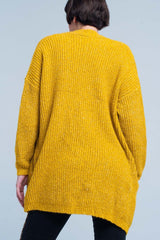 Fleck Knitted Mustard Cardigan-Sweaters-OGONEWYORK | Contemporary Womenswear | Ethical | Kind