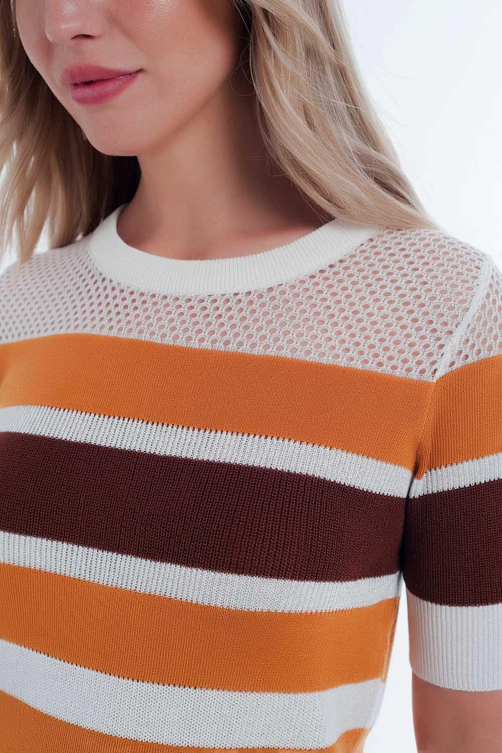 Q2 Mustard striped open knit sweater
