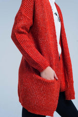 Fleck Knitted Orange Cardigan-Sweaters-OGONEWYORK | Contemporary Womenswear | Ethical | Kind