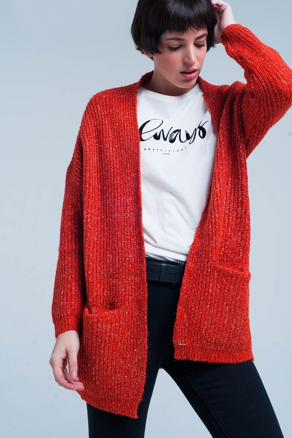 Q2 Orange Fleck Knitted Cardigan