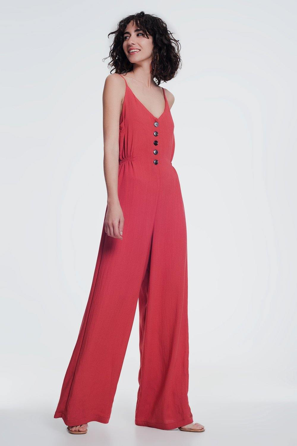 Q2 Orange jumpsuit with button detail