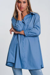 Q2 Oversized poplin shirt with collar in blue