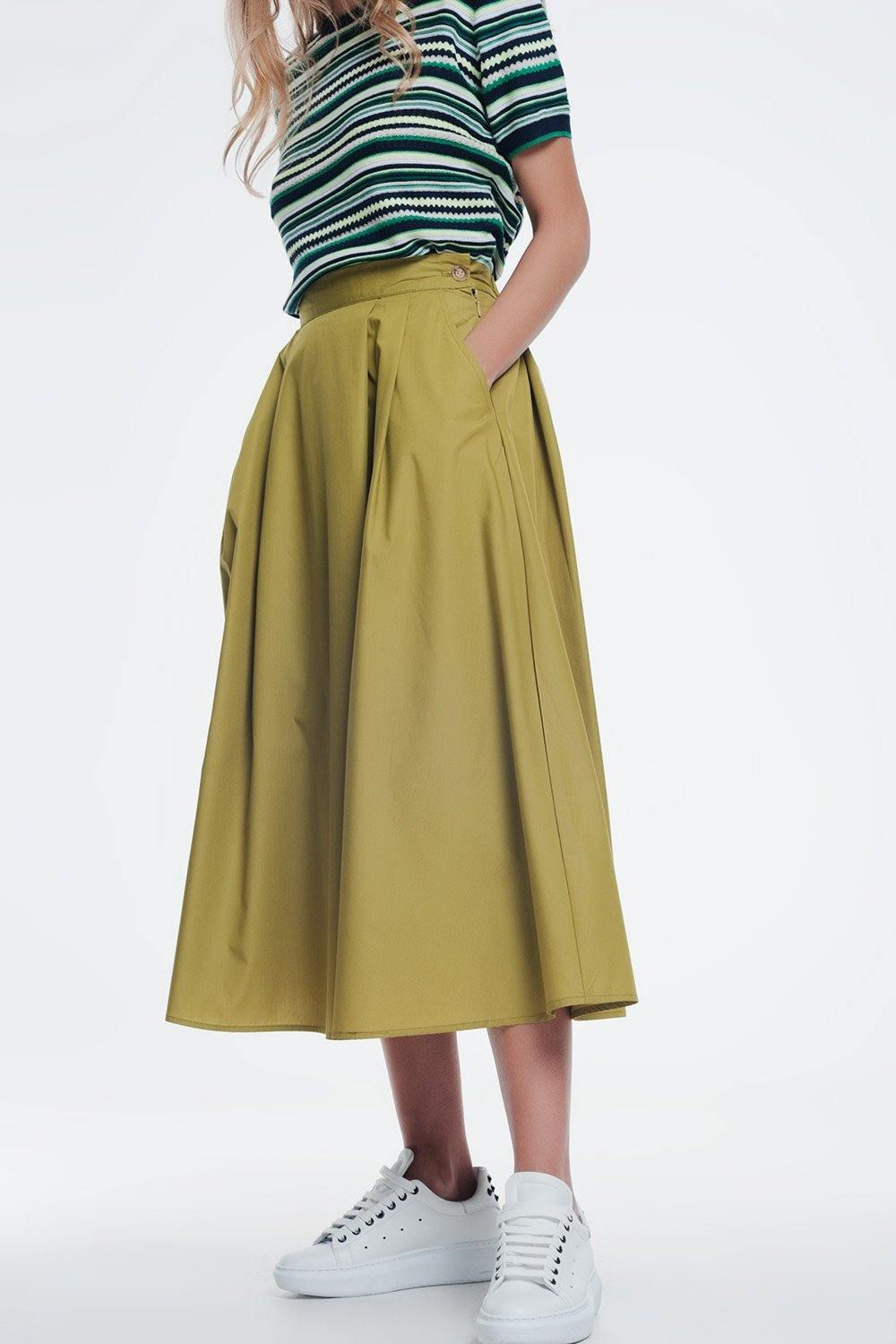Q2 poplin green skirt with thick waistband