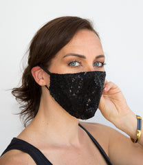 HEPA99 Sequin Face Mask - 99% Filter | Pocket Inserts | 100% Cotton lining | Washable - Cynthia - OGONEWYORK | Contemporary Womenswear | Ethical | Kind washable filter face mask black sequin face mask buy online washable filter face mask face mask washable filter filter washable face mask mask buy online hepa99 washable face mask filter filter face mask washable