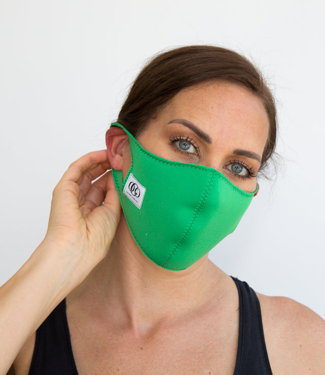 Green Scuba Adult Face Mask | Neoprene |  Washable | AntiDust Mask - Ash -S/M - OGONEWYORK | Contemporary Womenswear | Ethical | Kind