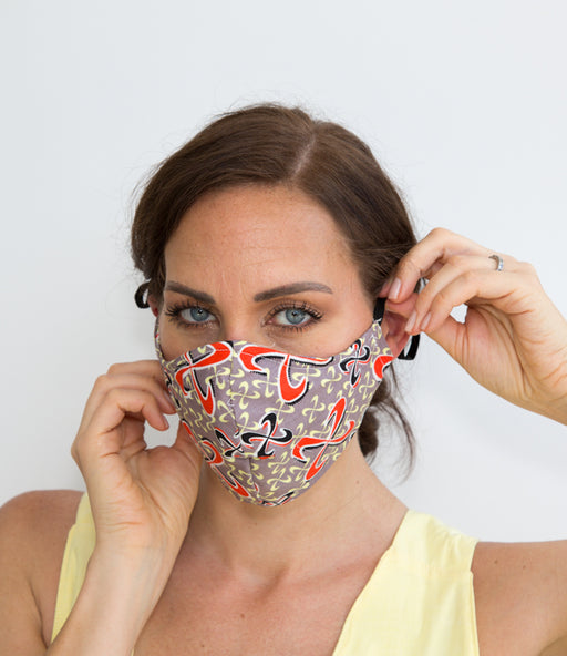 Our Avery orange HEPA 99% barrier print face mask is the perfect add-on to your summer closet. Made of 100% breathable washable Cotton,100% soft cotton lining and a nose grip, Avery's versatility with its reversible inner lining makes it a fun mask for every adults and kids.
