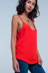Q2 Red cami top with satin straps