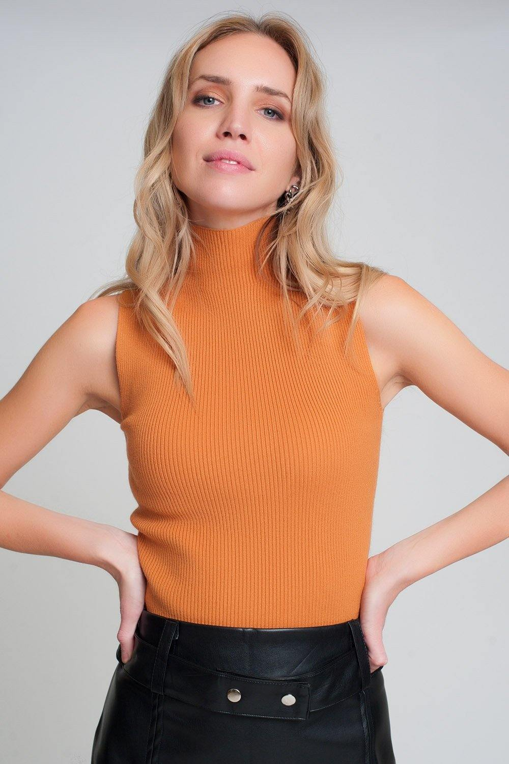Q2 Ribbed knit sleeveless sweater with high neck in orange