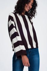 Q2 Scoop neck sweater in mono stripe in brown