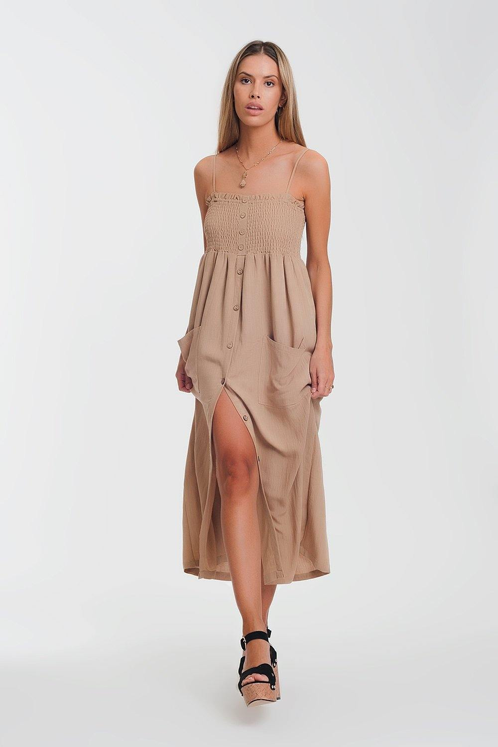 Q2 shirred bust maxi beige dress with pockets
