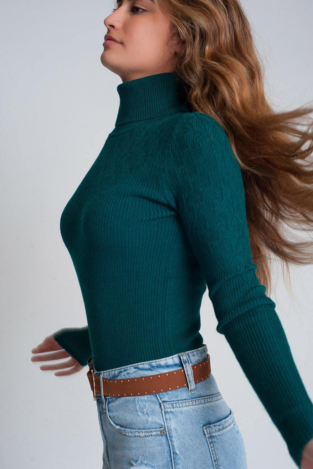 Q2 Soft knitted turtleneck fitted sweater in green