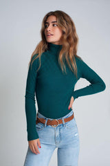 Green Soft Turtleneck-Sweaters-OGONEWYORK | Contemporary Womenswear | Ethical | Kind