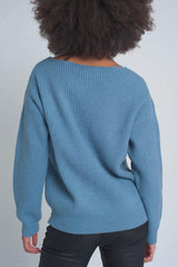 Textured Blue Sweater-Sweaters-OGONEWYORK | Contemporary Womenswear | Ethical | Kind