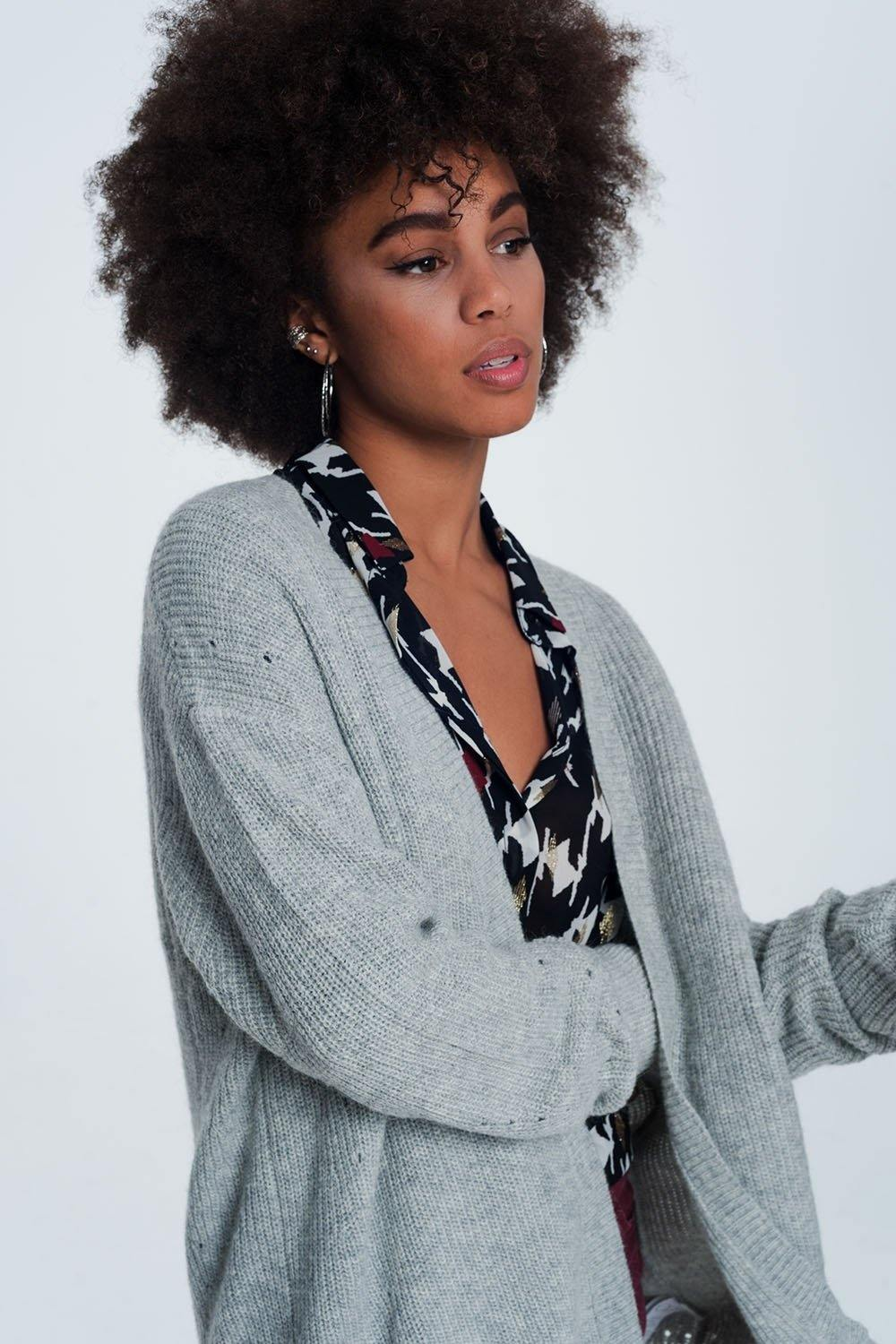Q2 Gray angora cardigan with long sleeves