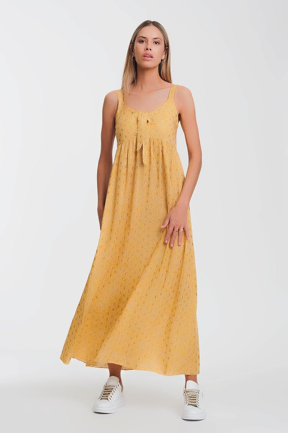 Q2 tie front midi yellow dress in floral print