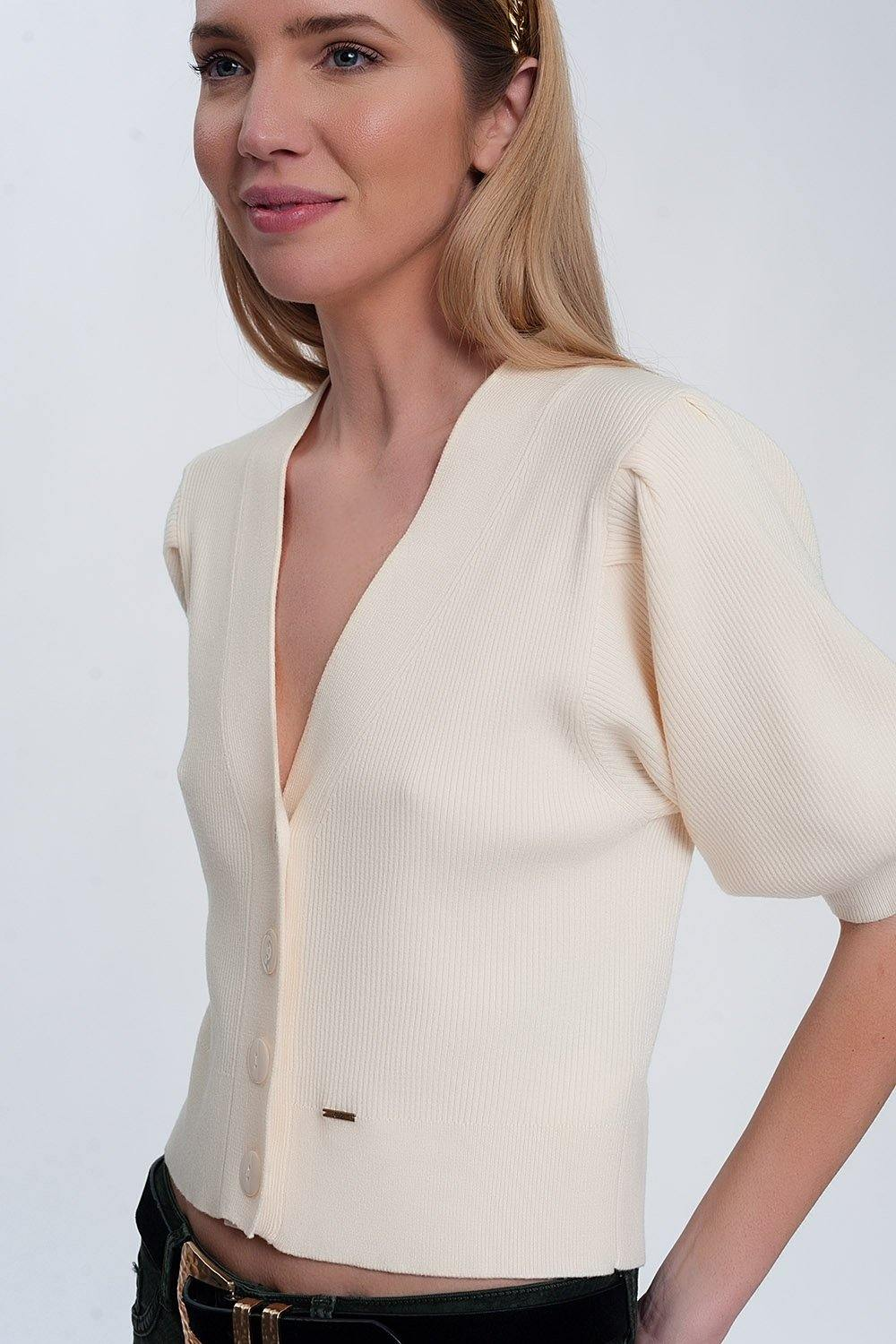 Cream Volume Sleeve Cardigan-Tops-OGONEWYORK | Contemporary Womenswear | Ethical | Kind
