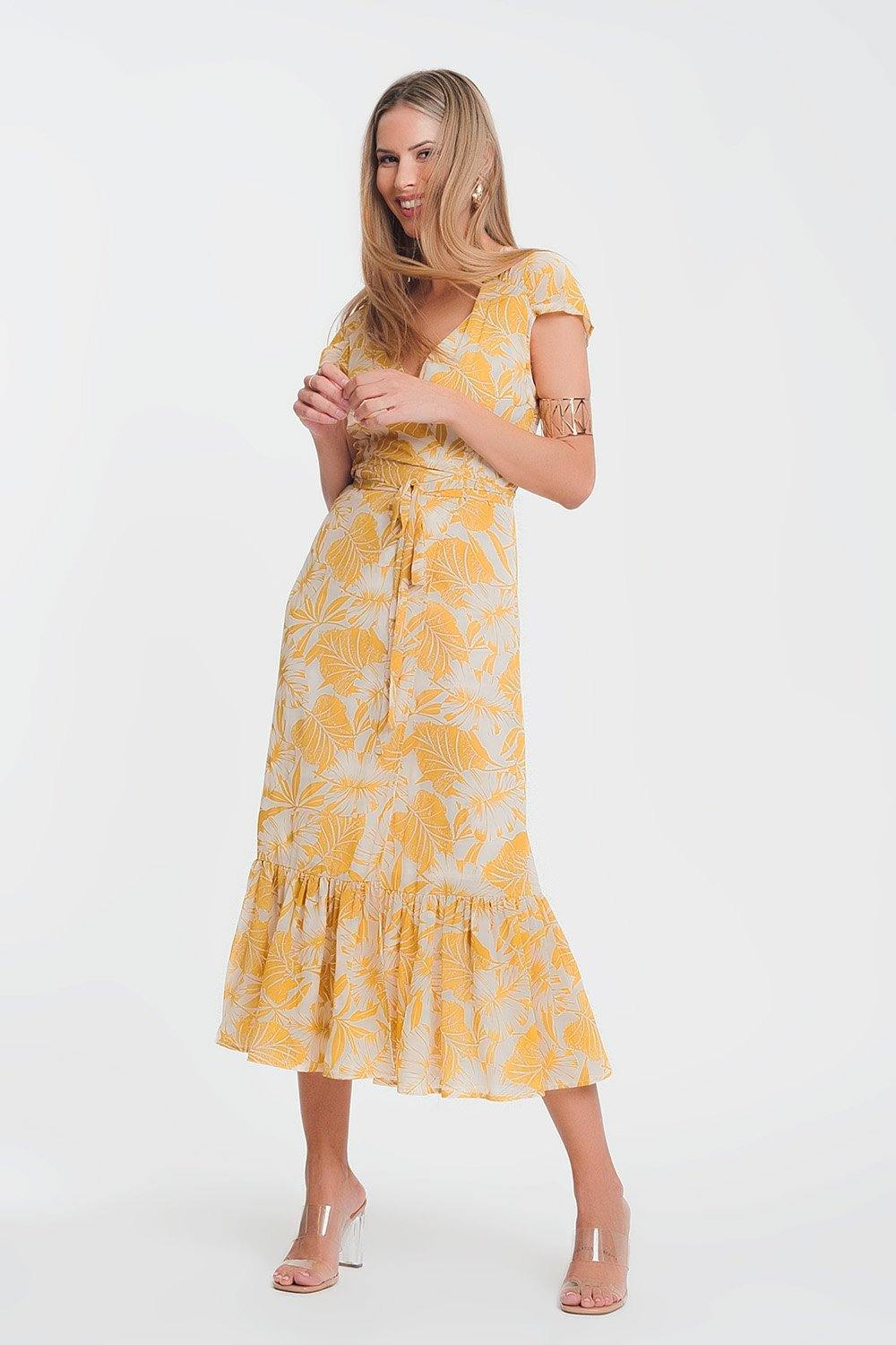 Q2 wrap front maxi dress in yellow tropical palm print