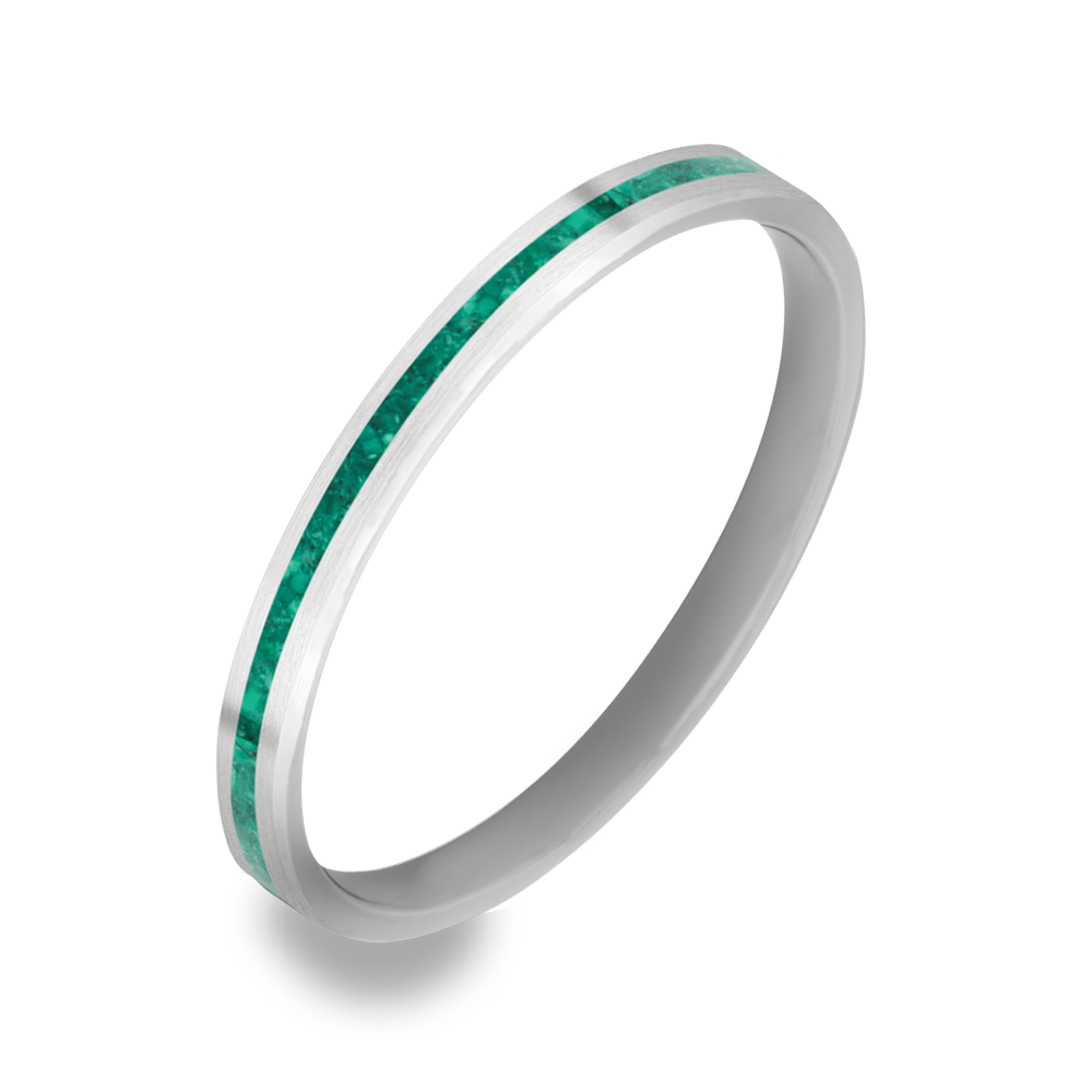 The Kildare - 14K White Gold / Genuine Malachite