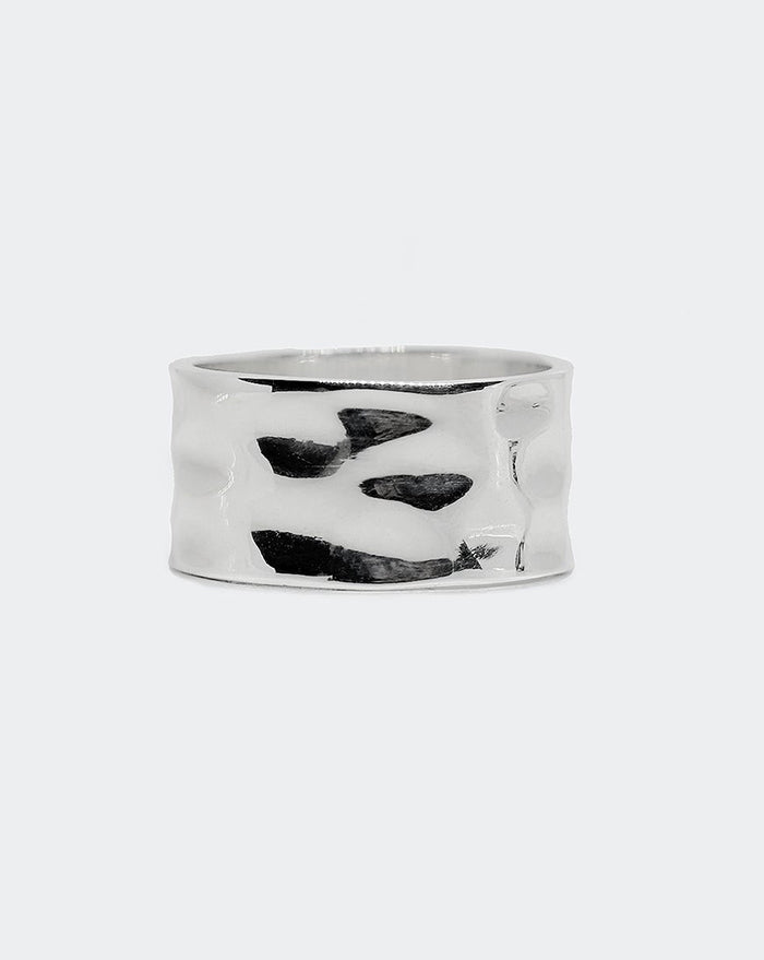 .925 WIDE HAMMERED RING 12MM