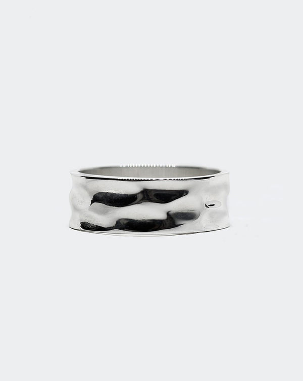 .925 WIDE HAMMERED RING 8MM