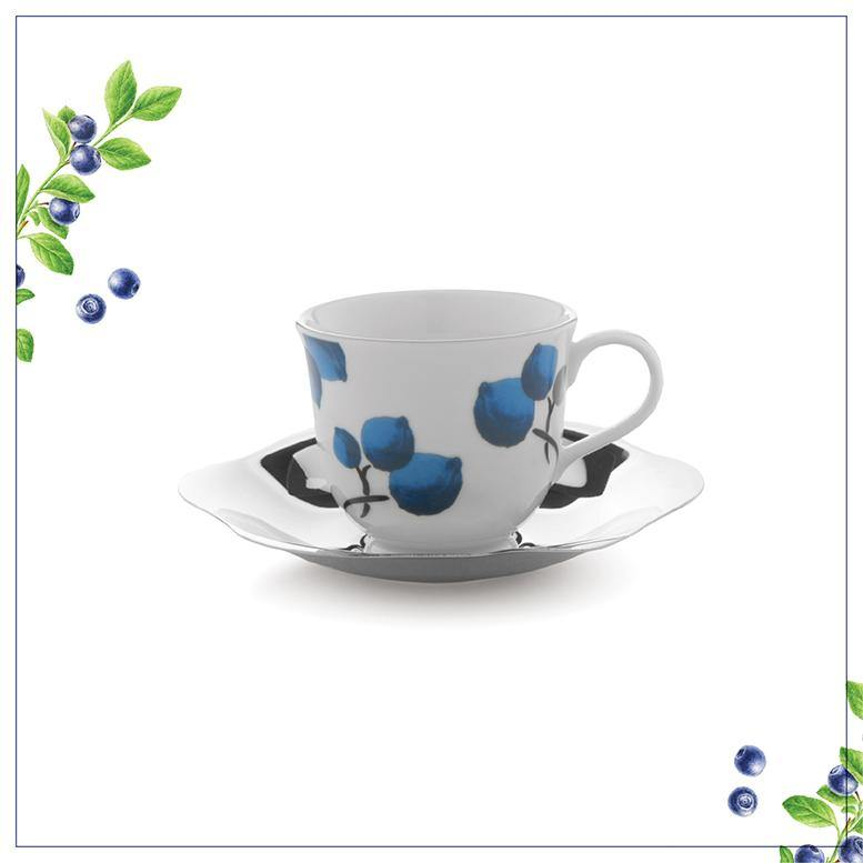 Blueberry Large Cup & Saucer By Arttdinox