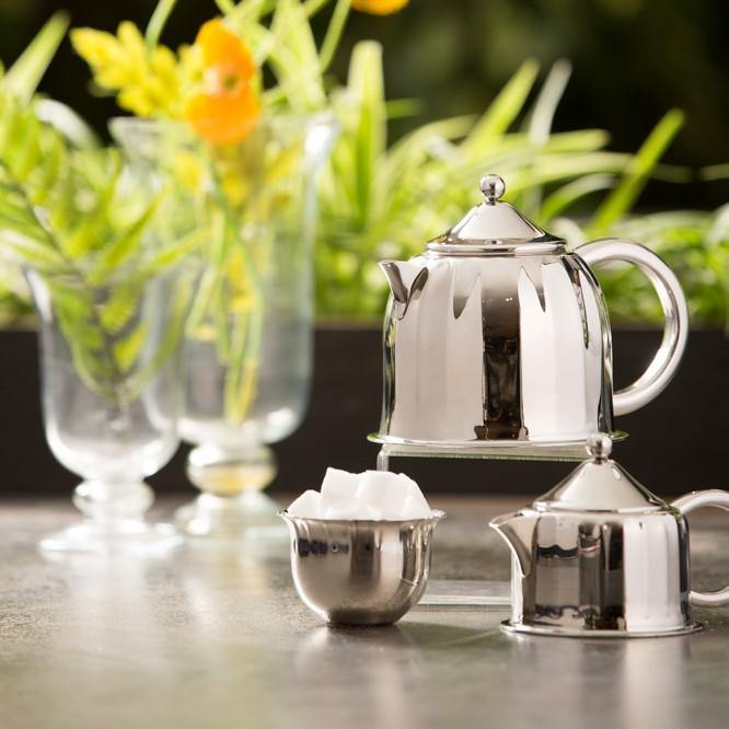 Dome Tea Set in Stainless Steel by Arttdinox