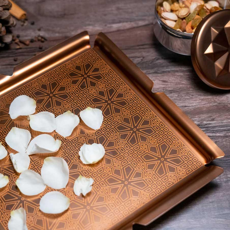 Aladdin Tray ( Gold & Bronze ) in Stainless Steel by Arttdinox