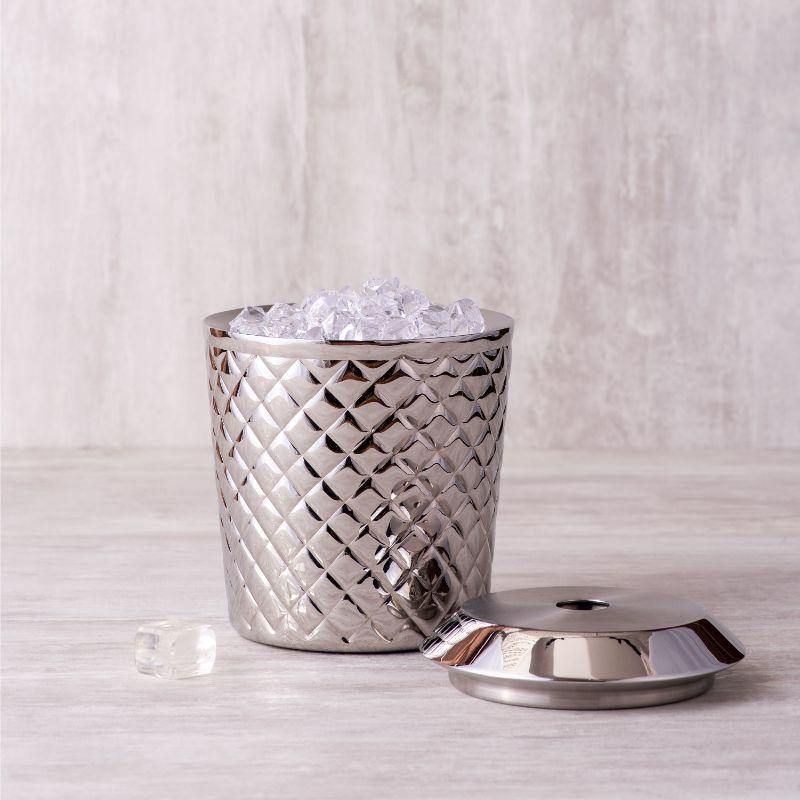 Shell Textured Ice Bucket in Stainless Steel by Arttdinox