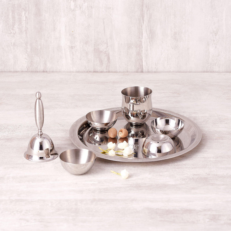 Etching Pooja Thali ( Small & Large ) in Stainless Steel by Arttd'inox