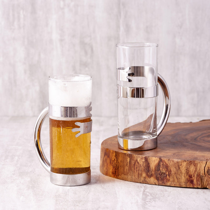 Beer Hug Mug Set of 2 in Stainless Steel By Arttdinox
