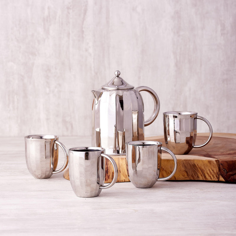 Dome Coffee Pot with Mugs in Stainless Steel by Arttdinox