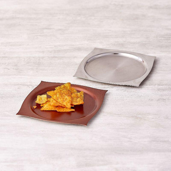Aladdin Texture Desert Plate Set of 6 in Stainless Steel by Arttdinox
