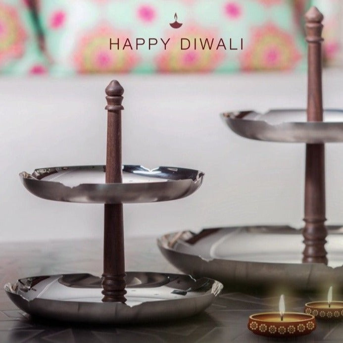 Pink City Two Tier Platter In Stainless Steel By Arttd'inox